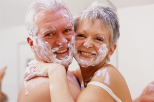 Mature Couple Covered in Shaving Foam