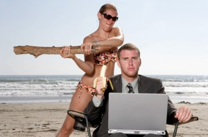 Woman on Beach Angry at Businessman