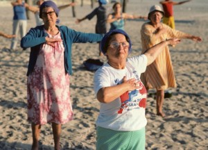 Elderly people doing outdoor early morning exercise